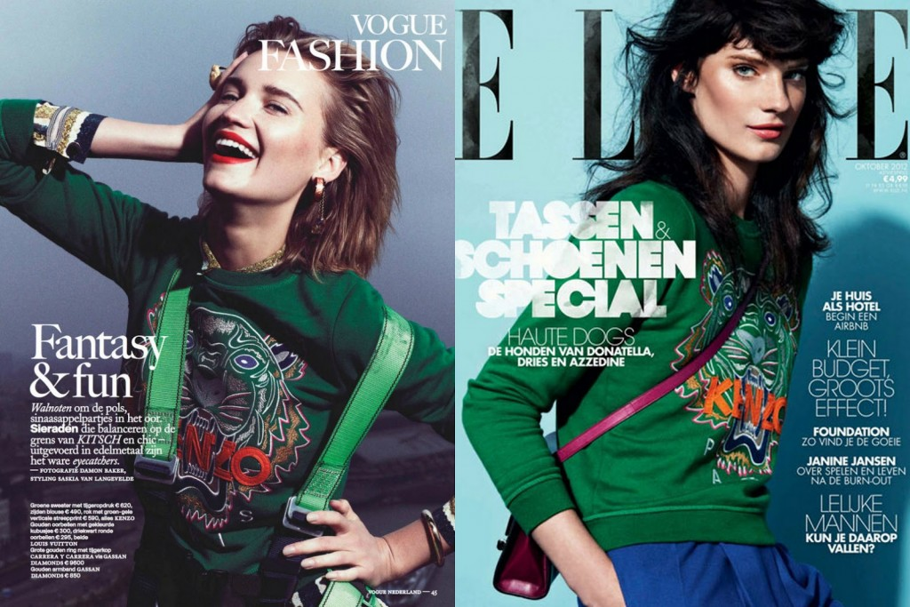 vogue and elle netherlands green sweatshirt ケンゾー tiger